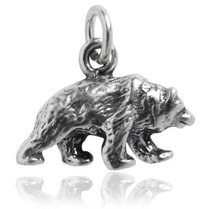 Sterling Silver Grizzly Bear Charm | Charmarama