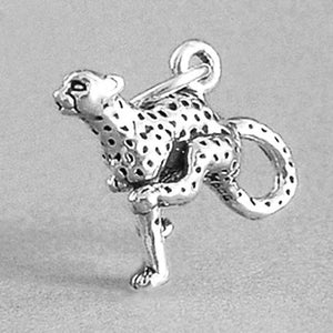 Cheetah big cat charm 925 sterling silver pendant