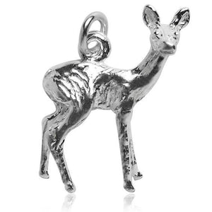 Deer doe charm sterling silver 925 or gold pendant | Charmarama