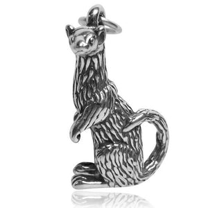 Sterling Silver Ferret Charm Pendant.