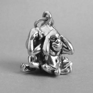 Three Wise monkeys charm 925 sterling silver pendant