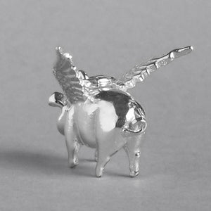 Flying Winged Pig Charm Pendant Silver or Gold