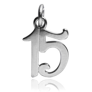 Number 15 Fifteen Numeral Charm 925 Sterling Silver Pendant