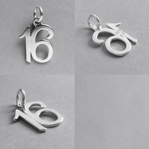 Number 16 sixteen Numeral Charm 925 Sterling Silver Pendant