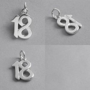 Number 18 eighteen Numeral Charm 925 Sterling Silver Pendant