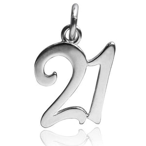 Number 21 twenty one Numeral Charm 925 Sterling Silver Pendant