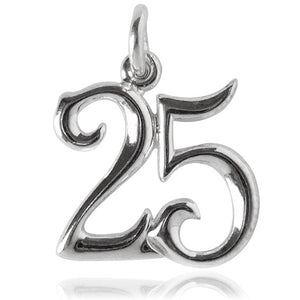 Number 25 Charm Sterling Silver or Gold 1-100 Birthday Numeral Pendant | Silver Star Charms
