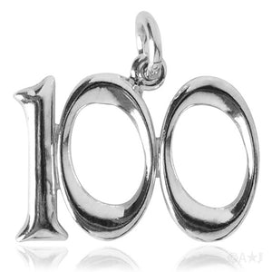 Number One Hundred Charm Numeral 100 Sterling Silver or Gold Pendant