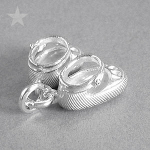 Sterling Silver or Gold Baby Shoes Charm Pendant