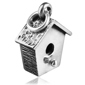 Sterling Silver Bird Nesting Box Charm