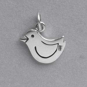 Chick Charm Sterling Silver Bird Pendant | Silver Star Charms
