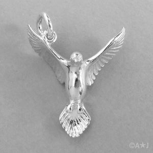 Sterling Silver or Gold Dove Charm Pendant