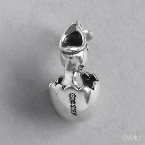 Sterling Silver Chick Hatching from Egg Charm Pendant