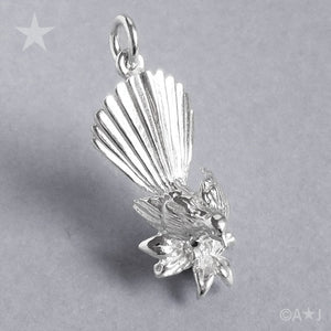 Sterling Silver or Gold Fantail Bird Charm Pendant