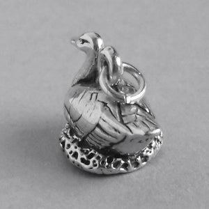 Geese bird charm sterling silver 925 pendant
