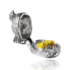 Sterling Silver Chicken on Nest Yellow Enamel Chicks Charm Pendant