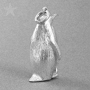 Sterling Silver or Gold Emperor Penguin and Chick Charm Pendant