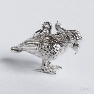 Cockatoo with Moving Crest Charm Sterling Silver or Gold Pendant