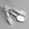 Sterling Silver or Gold Brush Comb Mirror Vanity Set Charm Pendant