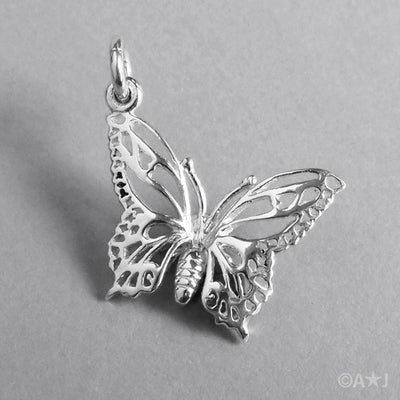 Sterling Silver or Gold Butterfly Charm Pendant