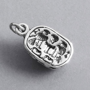 Sterling Silver Scarab Beetle Charm Pendant