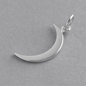 Crescent Moon Charm Sterling Silver Astronomy Pendant | Charmarama
