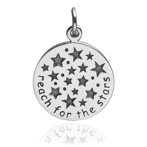 Reach For The Stars Charm Sterling Silver Inspirational Pendant | Charmarama