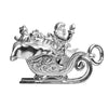 Santa Claus in Sleigh Charm Sterling Silver or Gold Pendant