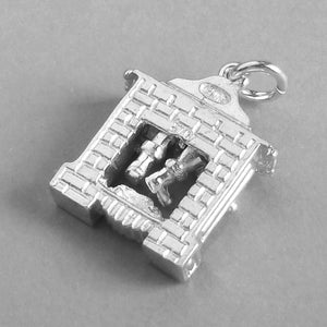 Sterling Silver or Gold Santa in Chimney Christmas Charm Pendant