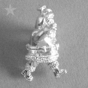 Father Christmas Charm Sterling Silver or Gold Pendant