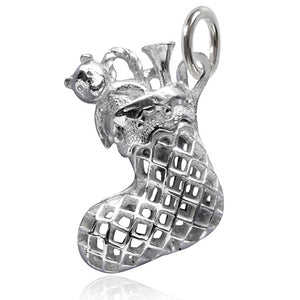 Sterling Silver or Gold Christmas Stocking Charm Pendant