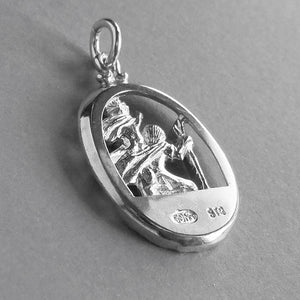 Saint Christopher Charm Sterling Silver Religion Pendant | Silver Star Charms