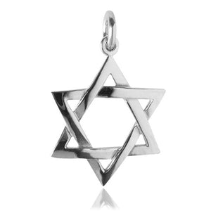 Star of David Charm Pendant in Sterling Silver or Gold