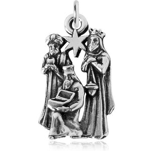 Three Kings Wise Men Christmas Sterling Silver Charm Pendant