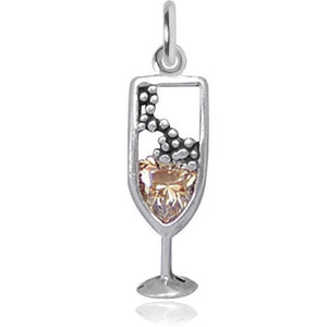Sterling Silver Crystal Champagne Glass Charm Pendant