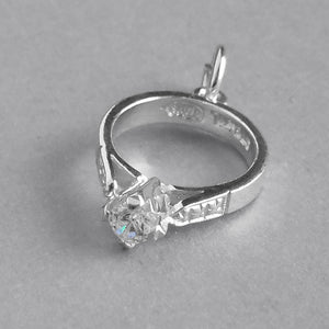 Solitaire Engagement Ring Charm Sterling Silver Wedding Pendant | Silver Star Charms