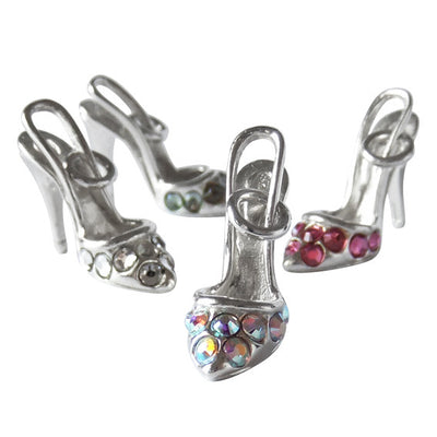 Sterling Silver Crystal Stiletto Shoe Charm Pendant