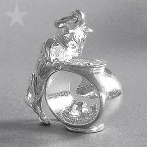 Cat and Fish Bowl Charm Sterling Silver or Gold Pendant