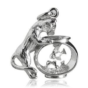 Cat and Fishbowl Charm Sterling Silver or Gold Pendant