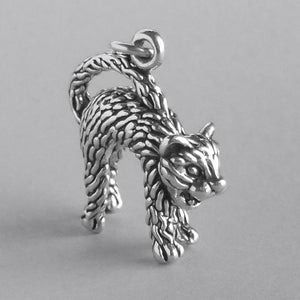Hissing cat charm 925 sterling silver pendant