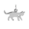 Walking Cat and Heart Charm Sterling Silver Pendant | Silver Star Charms