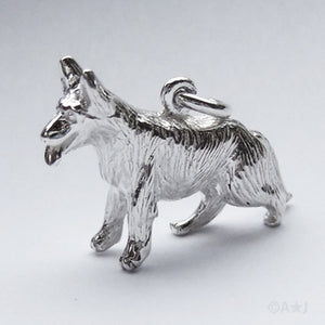 Alsatian German Shepherd Dog Charm Silver or Gold Pendant