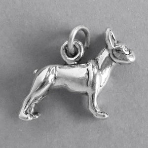 Sterling Silver Boston Terrier Dog Charm Pendant | Charmarama