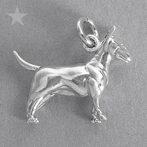 Sterling Silver or Gold Bull Terrier Dog Charm Pendant