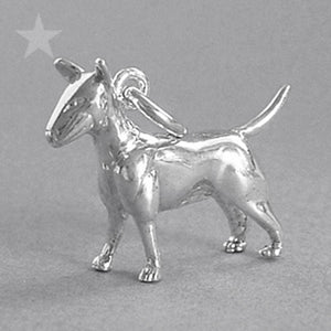 Bull Terrier Dog Charm Sterling Silver or Gold Pendant