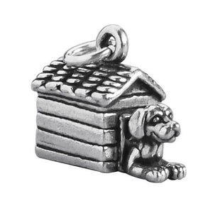 Dog in doghouse charm 925 sterling silver pendant