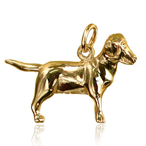 Sterling Silver or Gold Labrador Dog Charm Pendant