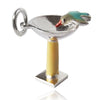 Sterling Silver and Enamel Bird Bath Charm