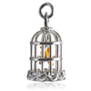 Canary Bird in Cage Charm Pendant Sterling Silver Enamel