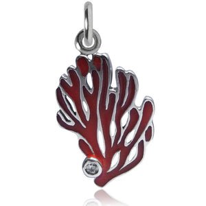Coral Charm Sterling Silver Enamel CZ Pendant | Silver Star Charms